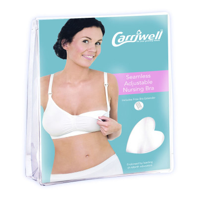 """Carriwell Seamless Adjustable Drop Cup X-Large """"White"""""""