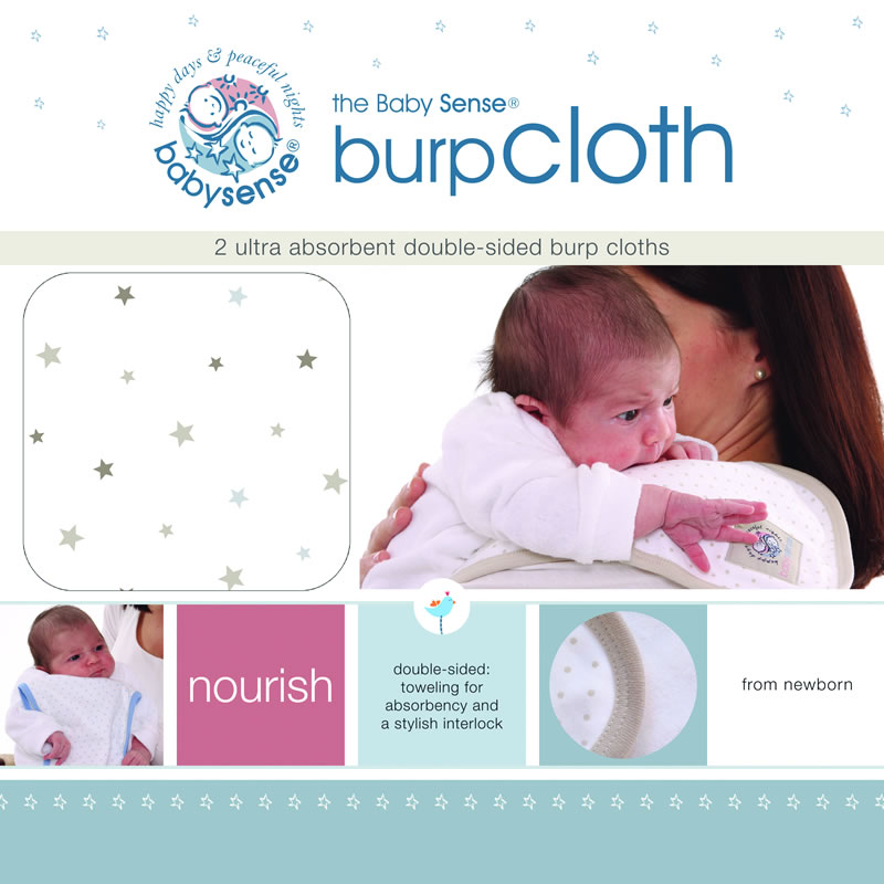 "Baby Sense Burp Cloth Twin Pack ""Stone"" – Baby City"