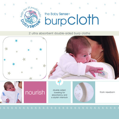 "Baby Sense Burp Cloth Twin Pack ""Blue"""