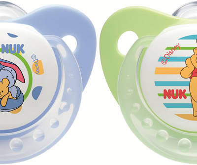 Nuk Silicone Winnie Trendline Soother - Size 1 - Blue and Green