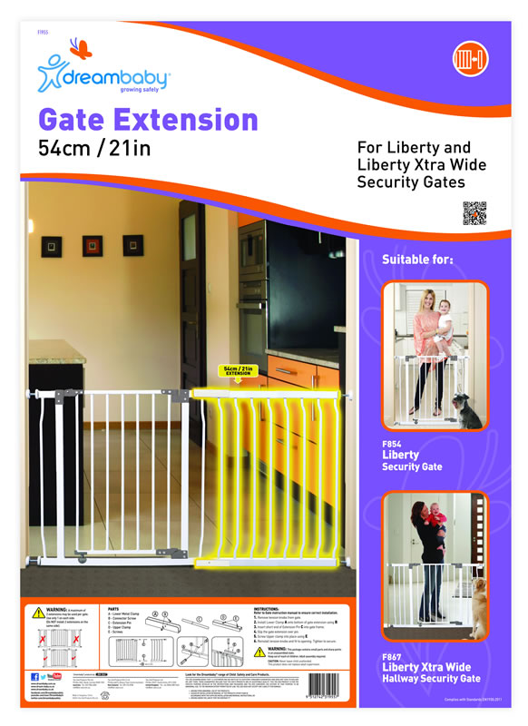 Dream Baby 54cm Extension For Liberty Gate White Baby City