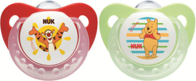 Nuk Silicone Winnie Trendline Soother - Size 1 - Red and Green