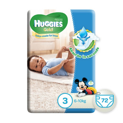 Huggies Gold Boy Size 3 72's
