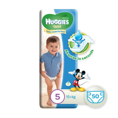 Huggies Gold Boy Size 5 50's