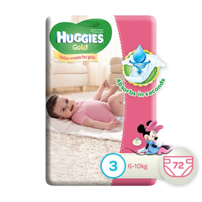 Huggies Gold Girl Size 3 72's