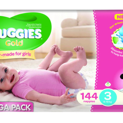 Huggies Megabox Girl Size 3 144's & Wipes