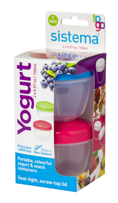 Sistema Food/Yogurt Container 2Go 2 Pack - Pink and Blue