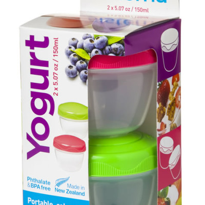 Sistema Food/Yogurt Container 2Go 2 Pack - Pink and Green