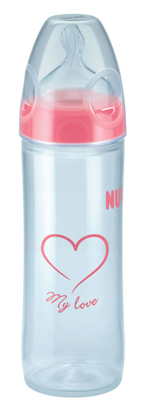 NUK New Classic Bottle with Silicone Teat - 250ml - Sz2 - Girl